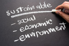 Sustainable. Topic on chalkboard for  development business concept Stock Images