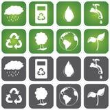 Sustainalble-Ikonen-Satz Lizenzfreie Stockbilder
