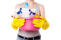 Sustancia femenina desconocida de la limpieza que se sostiene fotografía de archivo libre de regalías