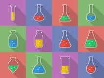Sustancia química, equipo de laboratorio de ciencia biológica - tubos de ensayo e iconos de los frascos Imágenes de archivo libres de regalías