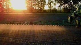 Sustancias químicas de rociadura del tractor en un campo en la puesta del sol almacen de video