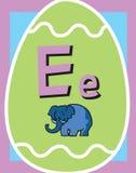 Sustantivos de la letra E de tarjeta de destello libre illustration