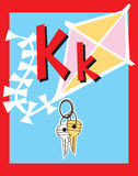Sustantivos de la letra K de tarjeta de destello. Fotografía de archivo