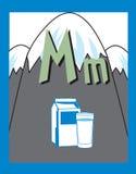 Sustantivos de la letra M de tarjeta de destello ilustración del vector