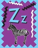 Sustantivos de la letra Z de tarjeta de destello ilustración del vector