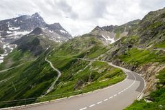 Susten mountain road and glacier in Switzerland Royalty Free Stock Photo