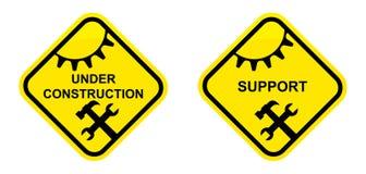 Sustentação e sob o sinal da construção ilustração royalty free
