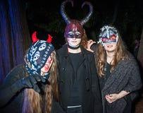 Susto del trío de Halloween la audiencia Foto de archivo