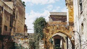 Susu die van akacasteddu e van het Castellokwart Hoger Kasteel in centrum van de de stadsstad van Sard het oude middeleeuwse in C stock afbeelding
