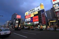 Susukino night scene (the entertainment district of Sapporo) Stock Photo