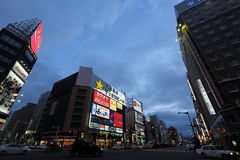 Susukino night scene (the entertainment district of Sapporo) Royalty Free Stock Photo