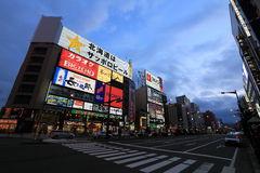 Susukino night scene (the entertainment district of Sapporo) Royalty Free Stock Image