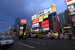 Susukino night scene (the entertainment district of Sapporo) Stock Photo