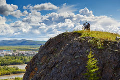 Susuman-Enduro. A motorcycle on the brink of breakage. The Magadan area. Kolyma Stock Photo