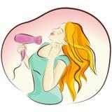 suszarniczy dziewczyny włosy wektor ilustracji