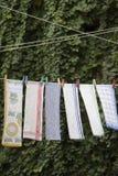 Suszarniczy ręczniki na arkanie Obrazy Royalty Free