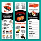 Suszi baru menu wektorowy szablon Japońscy naczynia ilustracji