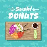 Suszi donuts Wektorowa ilustracja z suszi pączkiem, soja kumberland, chińczyków kije, plasterki ogórki na drewnianej desce ilustracja wektor