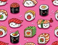 Suszi i sashimi bezszwowy wzór w kawaii projektuje również zwrócić corel ilustracji wektora Obraz Royalty Free