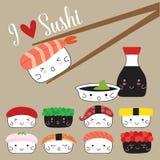 Suszi japończyka jedzenie ilustracja wektor