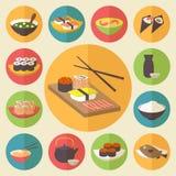 Suszi, Japońska kuchnia, karmowe ikony ustawia, mieszkanie Zdjęcia Stock