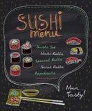 Suszi menu projekt na chalkboard Obrazy Royalty Free