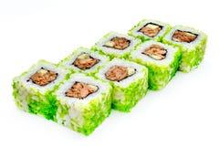 Suszi, rolka, Japoński owoce morza suszi, rolka na białym tle Zdjęcia Royalty Free