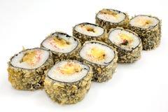 Suszi, rolka, Japoński owoce morza suszi, rolka na białym tle Obraz Stock