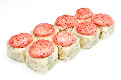 Suszi, rolka, Japoński owoce morza suszi, rolka na białym tle Obrazy Royalty Free