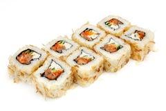 Suszi, rolka, Japoński owoce morza suszi, rolka na białym tle Zdjęcia Stock