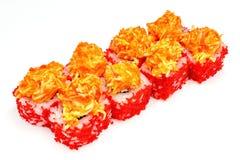 Suszi, rolka, Japoński owoce morza suszi, rolka na białym tle Obraz Royalty Free