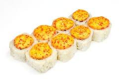 Suszi, rolka, Japoński owoce morza suszi, rolka na białym tle Fotografia Royalty Free