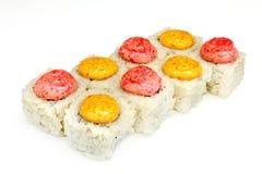 Suszi, rolka, Japoński owoce morza suszi, rolka na białym tle Zdjęcie Royalty Free