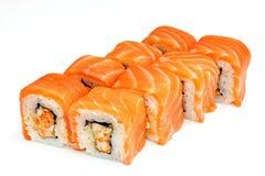 Suszi, rolka, Japoński owoce morza suszi, rolka na białym tle Obrazy Stock