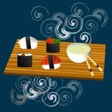 Suszi setu, dennego jedzenia, mak i rolek japanes, Obraz Royalty Free
