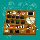 Suszi setu, dennego jedzenia, mak i rolek japanes, Zdjęcie Stock