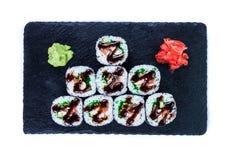 Suszi Ustalony sashimi i suszi rolki Obrazy Royalty Free