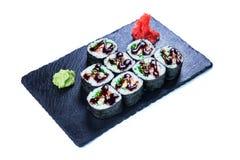 Suszi Ustalony sashimi i suszi rolki Zdjęcia Royalty Free