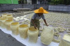 Suszyć bambusowego kosz fotografia royalty free