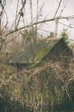 Suszy gałąź wiejski bela dom i krzak Fotografia Stock