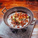 Suszy garnka bekonowego porcelanowego jedzenie obraz stock