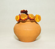 Suszy kwiaty w Ceramicznym garnku Zdjęcia Stock