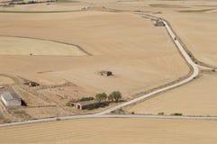 Suszy pole w Hiszpańskiej wiosce, sucha trawa, kolor żółty, drogi fotografia stock