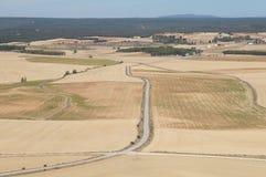 Suszy pole w Hiszpańskiej wiosce, sucha trawa, kolor żółty, drogi zdjęcie stock