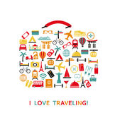 Sutecase from travel icons. Stock Photography