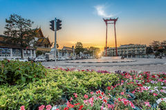 Suthat Temple and the Giant Swing at Twilight Time, Bangkok, Tha Stock Photo