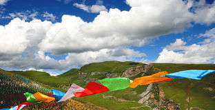 Sutra streamer. In China's Tibet's wild external many sutra streamers, these sutra streamers were use for to pray, the disappearing disaster, surpassed, with royalty free stock images