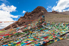 Sutra streamers in Tibet Royalty Free Stock Photo
