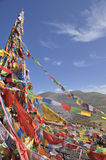 Sutra streamers at top of the mountain Stock Image