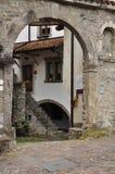 Sutrio, Carnia, Friuli, Italy. Old courtyard Stock Photos
